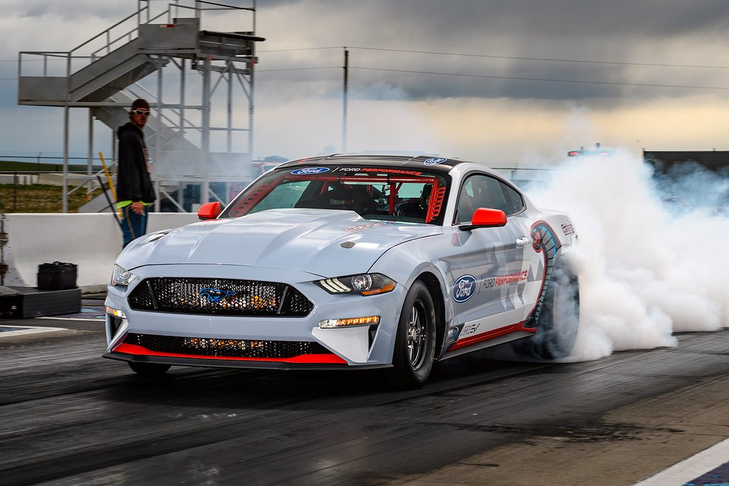 Engineered to shatter towering performance goals without using a drop of fuel, the all-electric Ford Mustang Cobra Jet 1400 prototype has blazed through a quarter-mile in 8.27 seconds at 168 miles per hour and reached 1,502 peak wheel horsepower in recent private development testing