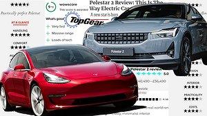 Jämförelserna mellan Tesla Model 3 och Polestar 2 haglar i internationell press.