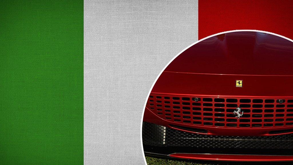 Italiens flagga och Fronten på en Ferrari.