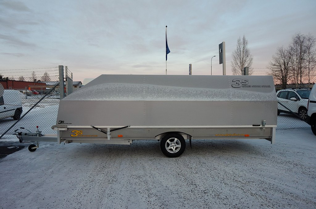 3S Alutrailers S490 x 190cm Skotersläp Silver Kåpa