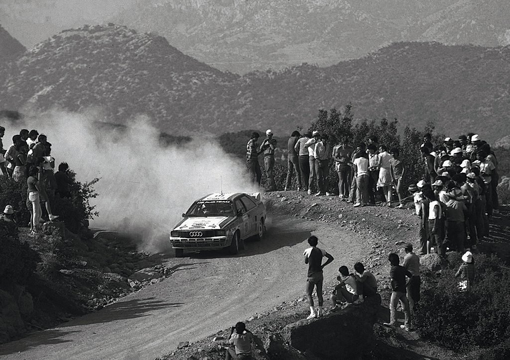 Audi quattro - Stig Blomqvist drifting at the 1983 acropolis Rally.