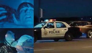 Tas av polis - mitt under akten i självkörande BMW